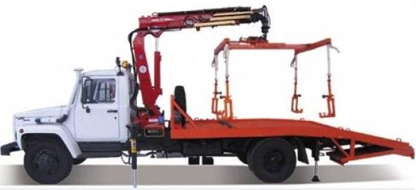 Эвакуатор ГАЗ-3309 с краном манипулятором